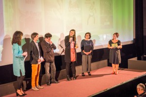 Preisträgerin Sandra Wollner + Jury + Barbara Weis + Moderatorin Angelika König